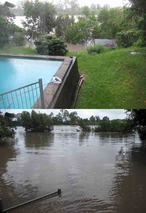 Brisbane River In Flood - Before and After