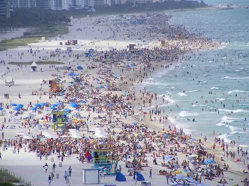 Crowded Miami Beach