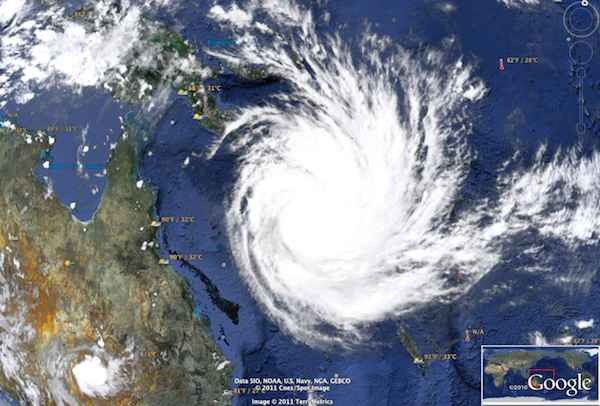 Cyclone Yasi – Google Earth