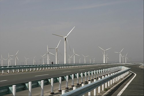 Huge windfarm in Xinjiang China