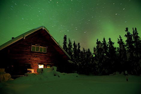 aurora above house