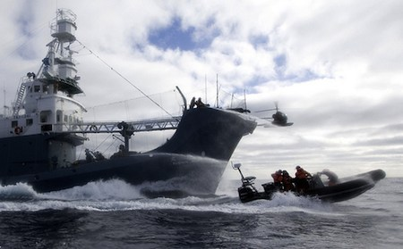 Sea Shepherd - water cannons