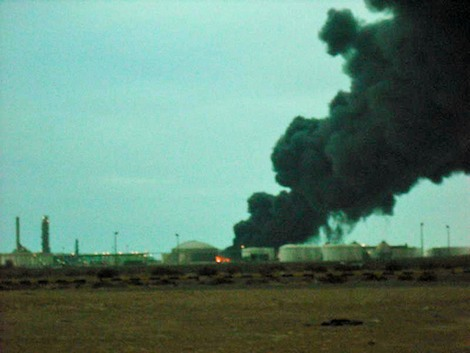 Libya oil fires