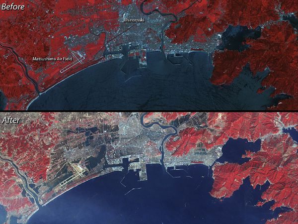 Japan tsunami damage – before and after
