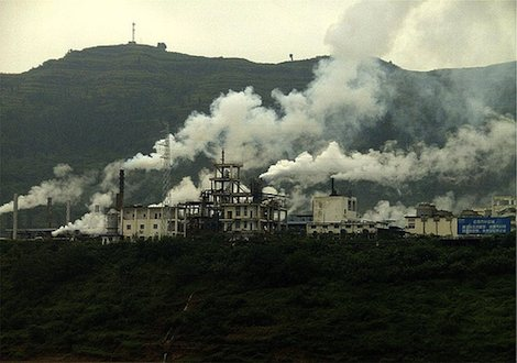 Factory pollution, Yangtze River, China
