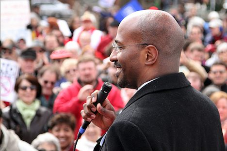 Van Jones addresses a crowd
