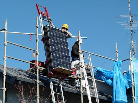 Solar panels being installed in Japan