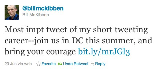 Tweet by Bill McKibben