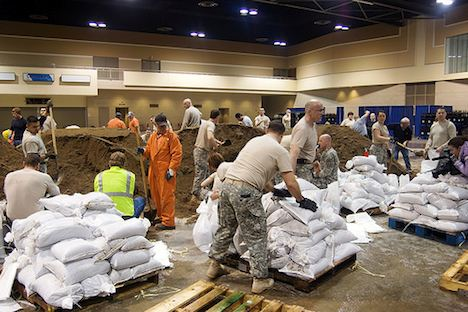 North Dakota National Guard filling sandbags