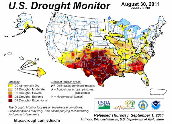US Drought Monitor – 30 August 2011