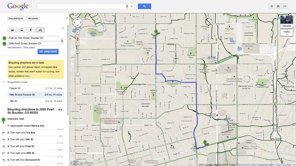 Google cycling directions