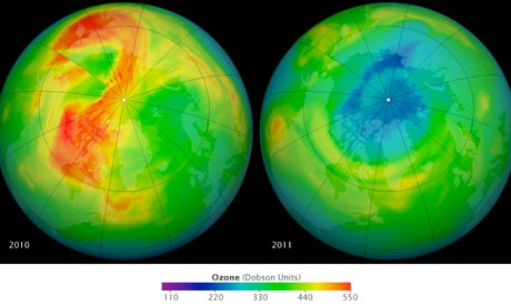 Maps of ozone levels – NASA