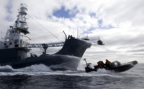 Sea Shepherd crew getting hosed by water cannons