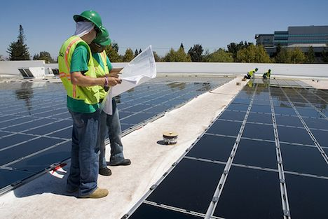 Rooftop solar installation in California