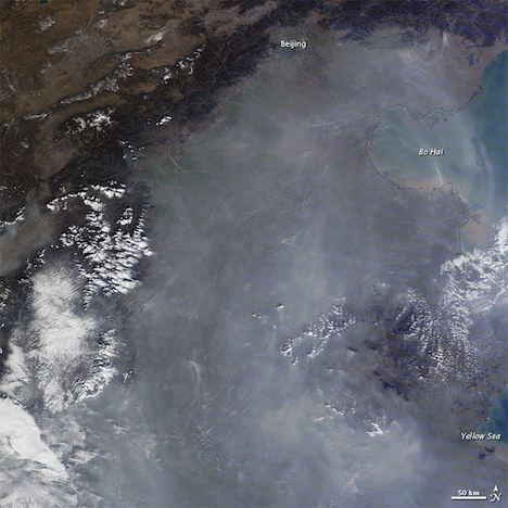 Thin haze of pollution over eastern China