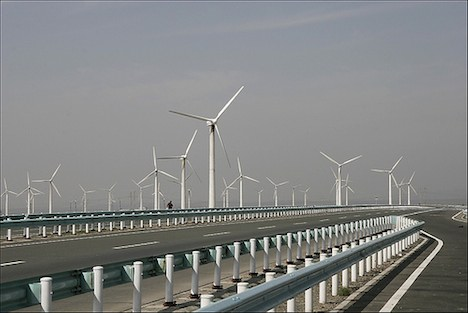 Huge windfarm in Xinjiang, China