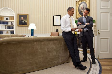 Obama with speech writer