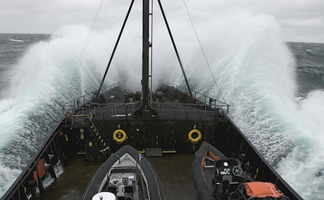 Sea Shepherd boat hitting a huge wave