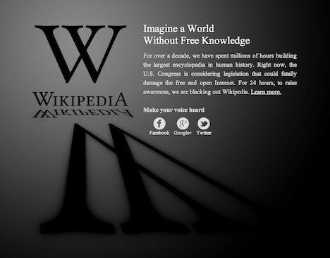 Wikipedia blackout page