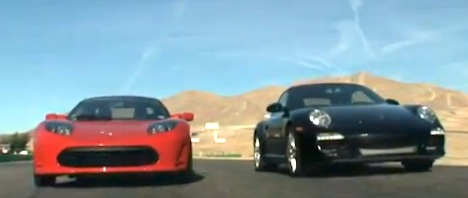 Tesla Roadster vs Porsche