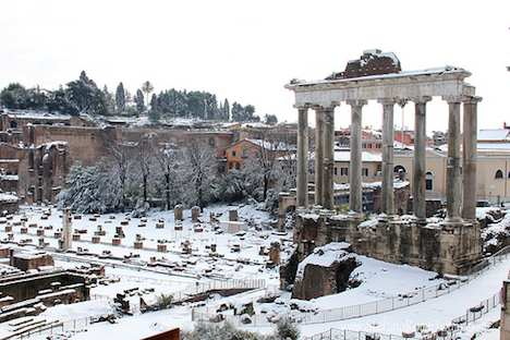 Roman Forum in snow