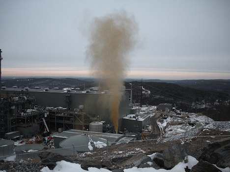Methane release from a power plant