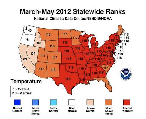 March to May US temperatures