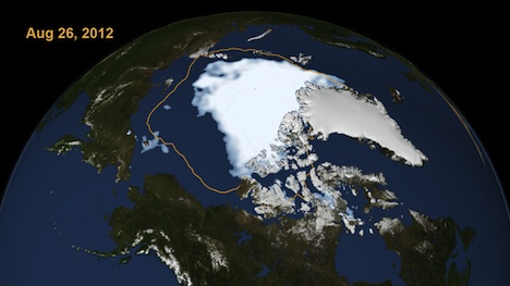Arctic sea ice record low extent 2012