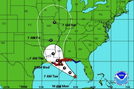 NOAA Hurricane Isaac map