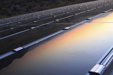 Solar panels at sunset