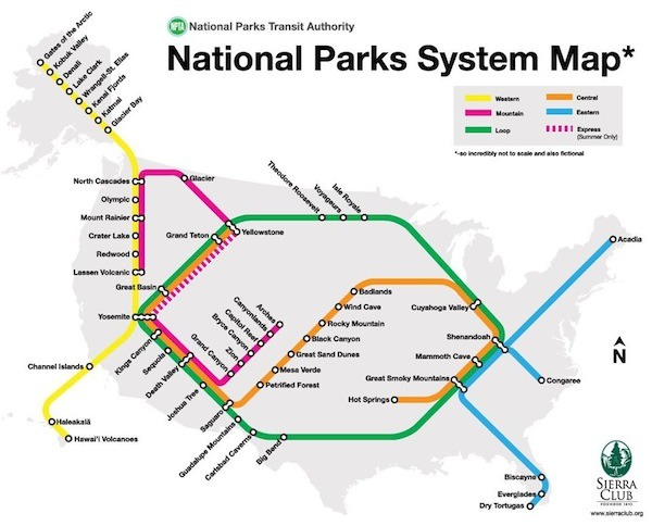 US National Parks system map