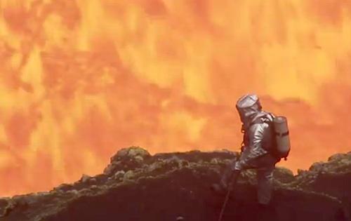 Geoff Mackley inside a volcano