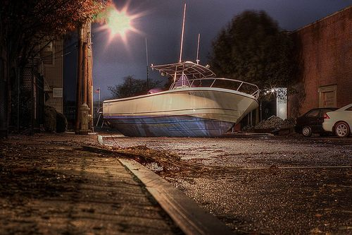 Boat carried inland by Hurricane Sandy flood waters
