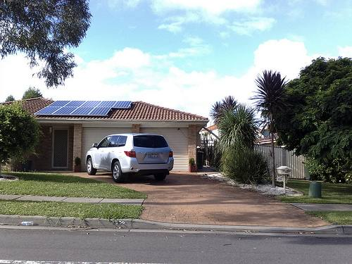 Solar panels on a suburban house