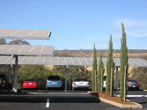 Solar panels of carport in California