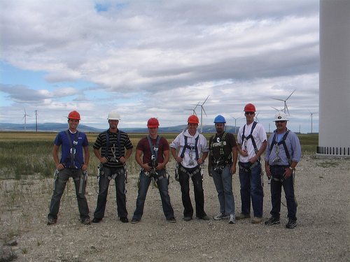 Wind farm climbing team