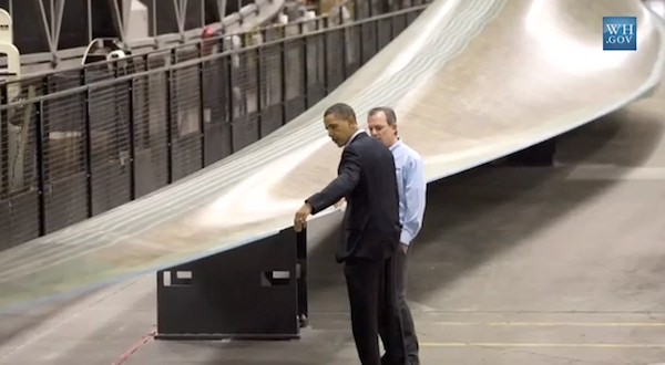 Obama inspecting wind turbine blade