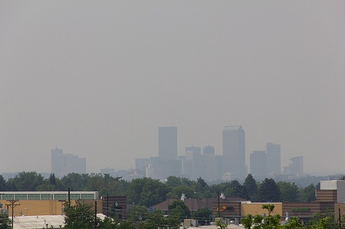 Wildfire smoke haze over Denver