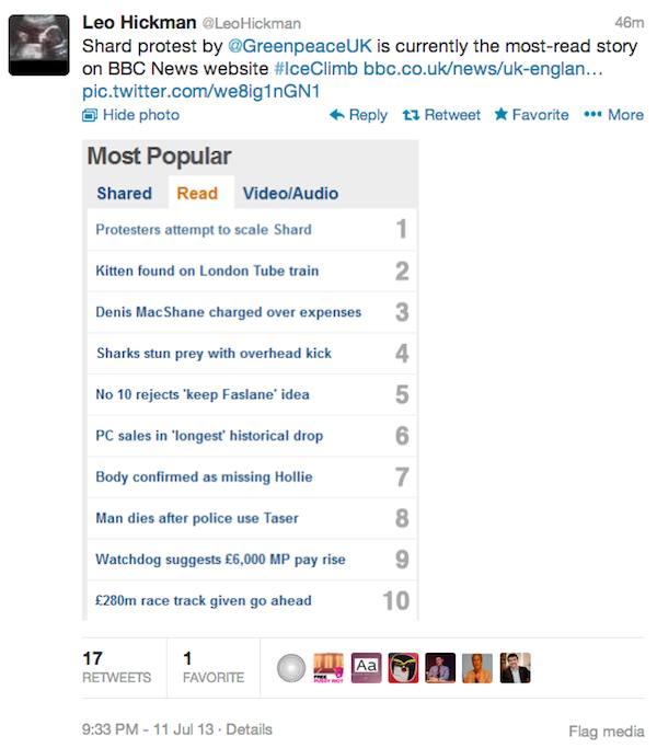 BBC tweet - iceclimb