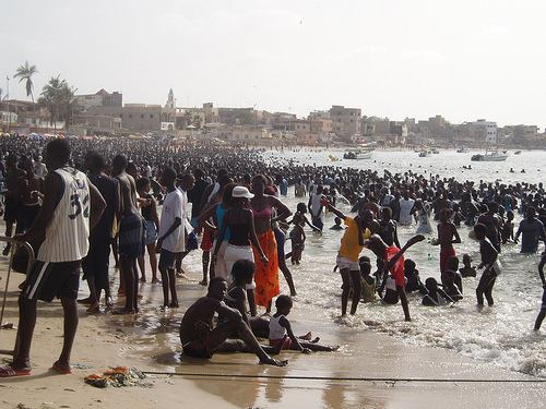 Crowded beach, Senegal