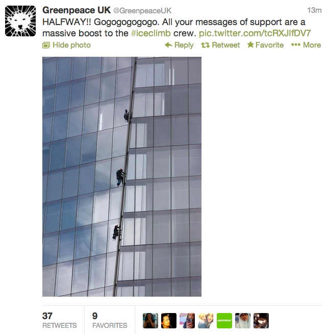 Greenpeace UK tweet, iceclimb