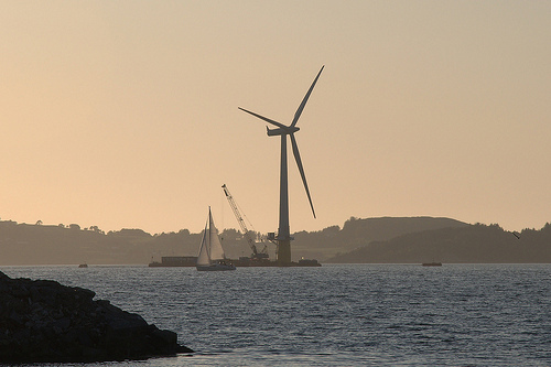 Floating wind turbine.