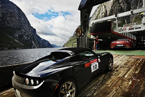 Tesla Roadsters on a ferry in Norway